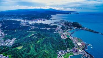 Aerial view of northeast coast of Taiwan in Keelung City photo