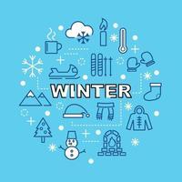 iconos de contorno mínimo de invierno vector