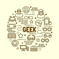 geek minimal thin line icons set vector