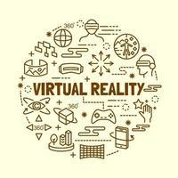virtual reality minimal thin line icons set vector