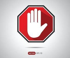 Detener la señal octogonal de la mano para actividades prohibidas, ilustración de vector de logotipo