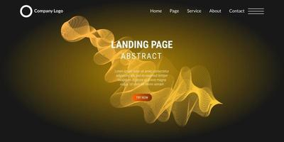 Abstract background website Landing Page with yellow wavy lines