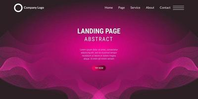Abstract background website Landing Page wavy lines with pink gradient