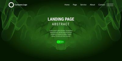 Abstract background website Landing Page with green  wavy lines