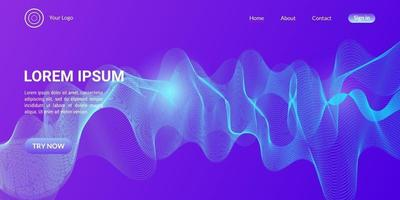 Abstract wave curve background in  blue and purple gradient