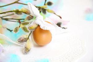 Easter eggs with willow branch