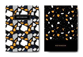 Terrazzo abstract cover page templates. Universal abstract layouts. Applicable for notebooks, planners, brochures, books, catalogs vector