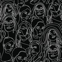 Continuous one line drawing woman face seamless pattern. Woman face line art vector