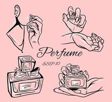 Set of perfume bottles vector illustration.