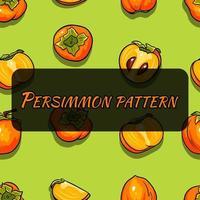 patrón transparente de vector con caqui de dibujos animados. zumo de frutas. patrón con frutos de caqui.