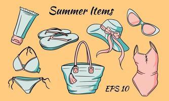 Summer items set. Hat, bag, flip flops, glasses, sun cream, swimsuit. vector