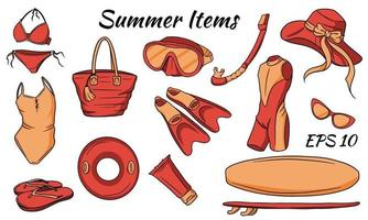 Set of summer preludes. Vector set isolated on white background. Summer items for swimming and relaxing on the beach.