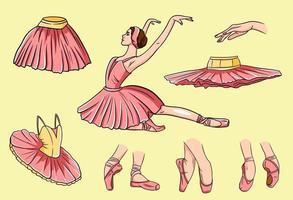 Vector ballet set. Ballerina and pointe shoes. Ballerina feet in ballet shoes. Tutus and ballet dresses. Arms.