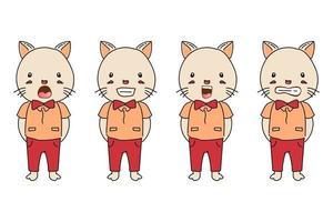 colección de gatos de dibujos animados vector