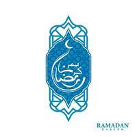Blue greeting card ramadan kareem design template vector