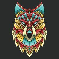 Abstract Colorful Ornament Doodle Art Wolf Illustration Cartoon Concept Vector. Suitable For Logo, Wallpaper, Tatto, Background, Card, Book Illustration, T-Shirt Design, Sticker, Cover, etc vector