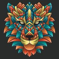 Abstract Colorful Ornament Doodle Art Lion Illustration Cartoon Concept Vector. Suitable For Logo, Wallpaper, Tatto, Background, Card, Book Illustration, T-Shirt Design, Sticker, Cover, etc vector