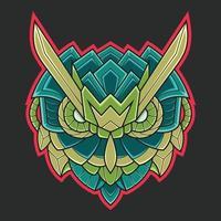 Abstract Colorful Ornament Doodle Mecha Robot Owl Art Illustration Cartoon Concept Vector. Suitable For Wallpaper, Banner, Background, Card, Book Illustration, T-Shirt Design, Sticker, etc vector
