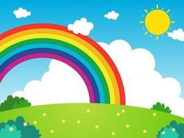arcoiris con nubes y fondo de sol vector