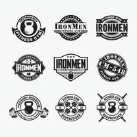 Fitness Gym Badges and Logos, vector design templates