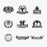 Body Builder Badges Logo Design vector