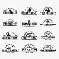 Fire Arms Badges and Logos vector design templates
