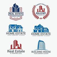 conjunto de diseño de logotipo de insignias de bienes raíces vector