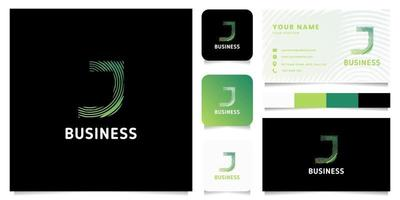 Logotipo de letra j de líneas circulares degradado verde colorido con plantilla de tarjeta de visita vector
