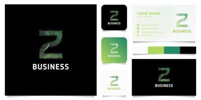 Logotipo de la letra z de las líneas circulares del gradiente verde colorido con la plantilla de la tarjeta de visita