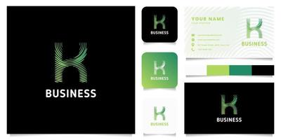 Colorful Green Gradient Circular Lines Letter K Logo with Business Card Template vector