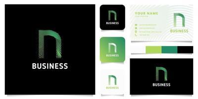 Logotipo de letra n de líneas circulares degradado verde colorido con plantilla de tarjeta de visita