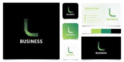 Logotipo de letra l de líneas circulares degradado verde colorido con plantilla de tarjeta de visita