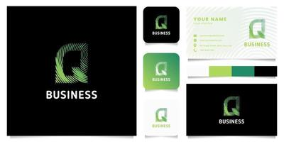 Colorful Green Gradient Circular Lines Letter Q Logo with Business Card Template vector