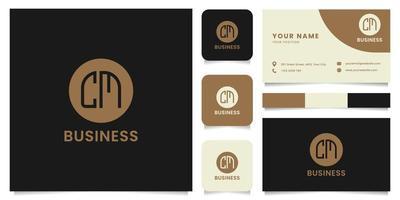 Logotipo de letra cm simple y minimalista en círculo marrón con plantilla de tarjeta de visita vector