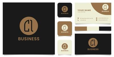 Simple and Minimalist Letter CI Logo on Brown Circle with Business Card Template vector