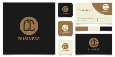 Simple and Minimalist Letter CC Logo on Brown Circle with Business Card Template vector