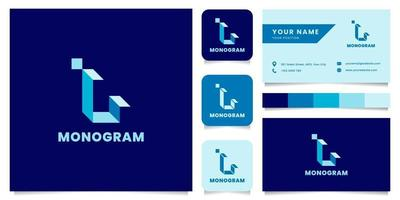 Logotipo de letra l isométrico azul simple y minimalista con plantilla de tarjeta de visita