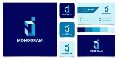 Logotipo de letra j isométrico azul simple y minimalista con plantilla de tarjeta de visita vector