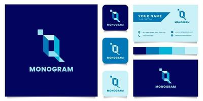Simple and Minimalist Blue Isometric Letter Q Logo with Business Card Template vector