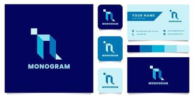 Logotipo de letra n isométrico azul simple y minimalista con plantilla de tarjeta de visita