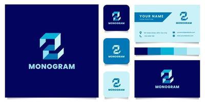 Logotipo de letra z isométrico azul simple y minimalista con plantilla de tarjeta de visita
