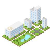 Isometric city, building block flat 3D design, vector illustration