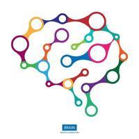 Cerebro de conexión multicolor, concepto creativo del cerebro humano, ilustración vectorial vector