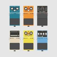 Realistic guitar effects pedal and stomp boxes, vector illustration