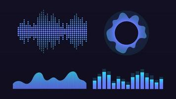 Wave of sound, virtual graphic equalizer, vector illustration