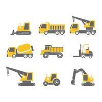Conjunto de iconos de diseño plano de vehículos de construcción aislado sobre fondo blanco, ilustración vectorial vector