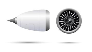 Realistic 3D turbo jet engine of airplane, vector illustration