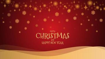 Gold glitter snowflake with mery christmas and happy new year on red background, vector illustration