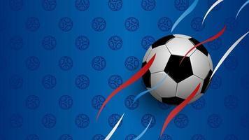 fútbol realista sobre fondo azul, copa de campeonato de fútbol, fondo abstracto, ilustración vectorial vector