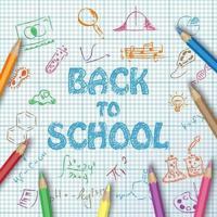 Back to school text drawing on paper graph with hand draw doodle, school items and color pencils vector